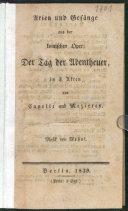 Arien und Gesänge aus der komischen Oper: Der Tag der Abentheuer