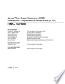 James Webb Space Telescope Jwst Final Report Of The Independent Comprehensive Review Panel Icrp