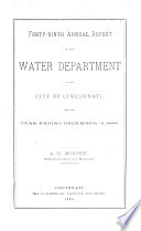 Annual Report of the Water Department of City of Cincinnati for the Year Ending ...