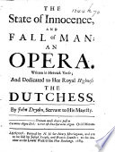 The state of innocence, and fall of man: an opera