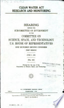 Clean Water Act Research and Monitoring