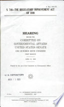 S. 746, the Regulatory Improvement Act of 1999