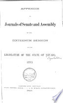 Appendix to Journals of Senate and Assembly     of the Legislature Book PDF