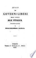 Quale dei governi liberi meglio convenga all'Italia