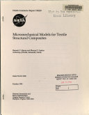 Micromechanical Models For Textile Structural Composites Book PDF