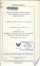 Urban Economic Development  Past Lessons and Future Requirements Book