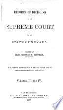 Reports of Cases Determined in the Supreme Court of the State of Nevada Book PDF