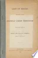 List Of Books Belonging To The Louisville Library Association