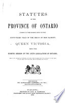 Statutes of the Province of Ontario
