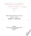 Erhard Ratdolt and His Work at Venice