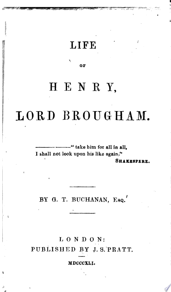 Life of Henry  Lord Brougham