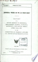 Rhodesia, where Do We Go from Here?
