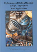 Performance Of Bolting Materials In High Temperature Plant Applications Book PDF