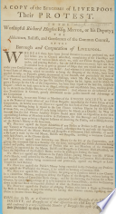 To the Worshipful Richard Hughes  Esquire  Mayor  etc   On the grievances of the burgesses of Liverpool  Dated  1 Aug  1757   Book