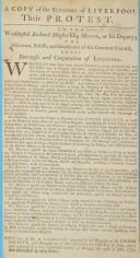 To the Worshipful Richard Hughes  Esquire  Mayor  etc   On the grievances of the burgesses of Liverpool  Dated  1 Aug  1757
