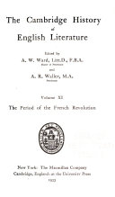 Cambridge History of English Literature  The period of the French revolution
