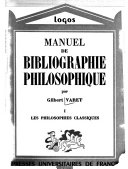 Manuel de bibliographie philosophique