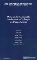 Materials for Sustainable Development   Challenges and Opportunities