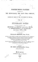 Itinerary notes of plants collected in the Khasyah and Bootan mountains  1837 38  in Affghanisthan and neighbouring countries  1839 184l