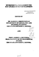 Environmental Management for Sustainable Human Development