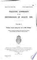 Palestine Commission on the Disturbances of August, 1929