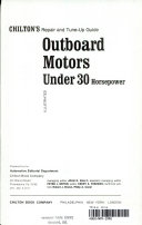 Chilton's repair and tune-up guide: outboard motors, under 30 horsepower
