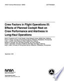 Crew Factors in Flight Operations 9: Effects of Planned Cockpit Rest on Crew Performance and Alertness in Long-haul Operations