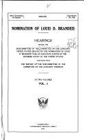 Nomination Of Louis D Brandeis Book PDF