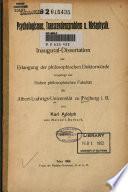 Psychologismus, Transcendenzproblem u. Metaphysik. Inaugural-Dissertation ... von Karl Adolph ...