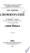 Tribunal civil de la Seine ... Note scientifique sur l'homœopathie par le docteur T. G. ... à l'occasion du procès intenté au journal l'Union Médicale
