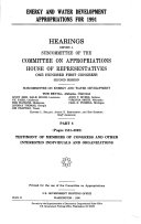 Energy and Water Development Appropriations for 1991