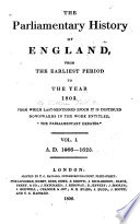 The Parliamentary History Of England From The Earliest Period To The Year 1803 Book