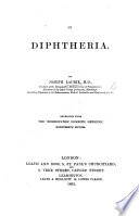 On Diphtheria  Reprinted from the    Hom  opathic Domestic Medicine     seventeenth edition