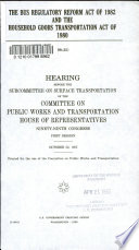 The Bus Regulatory Reform Act of 1982 and the Household Goods Transportation Act of 1980
