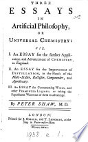 Three essays in artificial philosophy  or universal chemistry