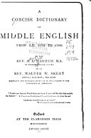 A Concise Dictionary of Middle English from A D  1150 to 1580