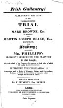 Fairburn s Edition of the Unprecedented Trial Between Mark Browne  Esq  Plaintiff  and Martin Joseph Blake  Esq  Defendant  for Adultery