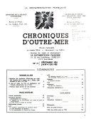 Chroniques d'Outre-Mer; Études et Informations