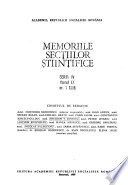 Memoirs of the scientific sections of the Academy of the Socialist Republic of Romania