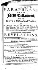 A Paraphrase on the New Testament, with notes doctrinal and practical ... By ... R. Baxter. Third edition, corrected, etc ebook