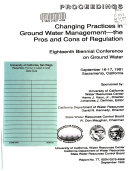 Changing Practices in Ground Water Management Book