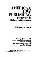 American Law Publishing  1860 1900  Bibliographic indexes