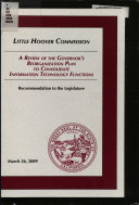 A Review of the Governor s Reorganization Plan to Consolidate Information Technology Functions Book