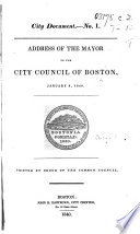 Address of the Mayor to the City Council of Boston  January 6  1840 Book