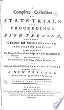 A Complete Collection of State-trials, and Proceedings for High-treason, and Other Crimes and Misdemeanours: 1494