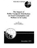 The Impact of Public Foodgrain Distribution on Food Consumption and Welfare in Sri Lanka