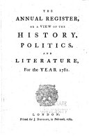 The Annual Register, Or, A View of the History, Politics, and Literature for the Year ... ebook