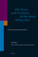 The Texts and Versions of the Book of Ben Sira