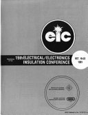 Proceedings of the 15th Electrical Electronics Insulation Conference  Oct  19 22  1981