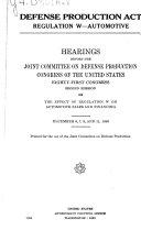 Defense Production Act  Regulation W    Automotive